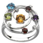 Multi gemstone and diamond ring