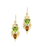 Unique Design Citrine & Peridot Earrings in 14K Yellow Gold